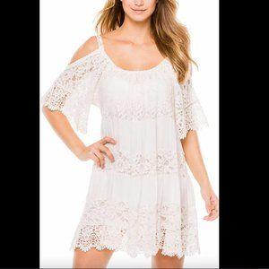 Guess white boho crochet dress
